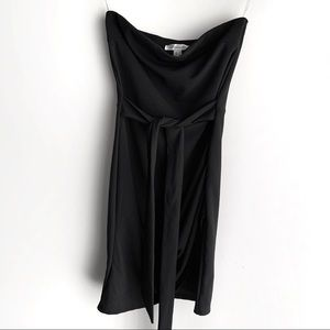 Black Revamped Strapless Tie Mini Dress, L
